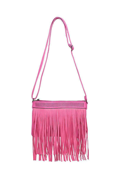 Double Fringe Studded Mauve Shoulder Bag-SinglePrice