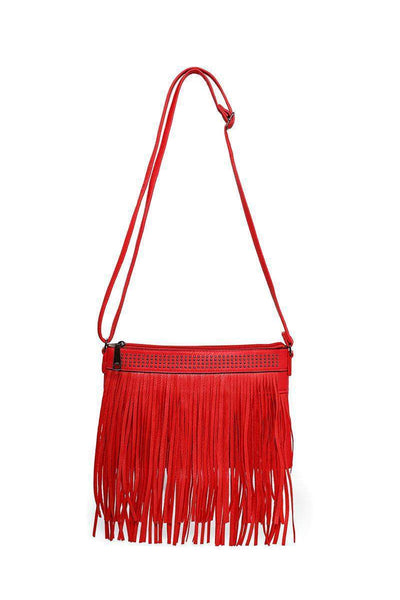 Double Fringe Studded Red Shoulder Bag-SinglePrice