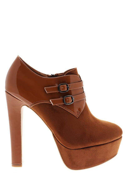 Double Strap Patent Details High Heel Camel Ankle Boots-Single price