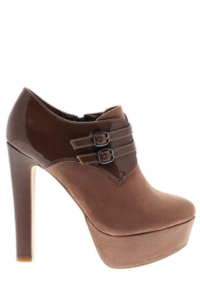 Double Strap Patent Details High Heel Khaki Ankle Boots-Single price