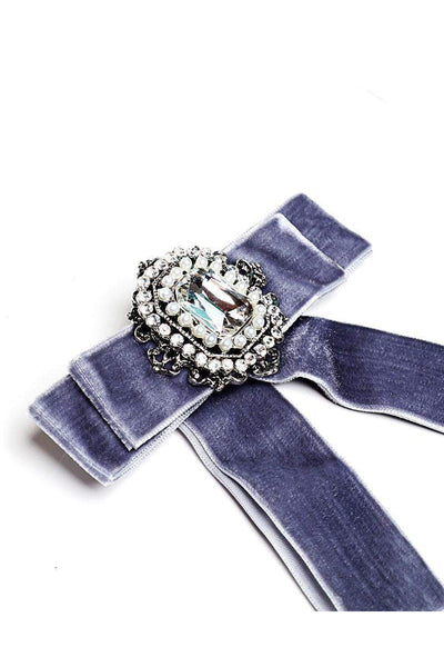 Double Velvet Bow Grey Jewelled Brooch-SinglePrice