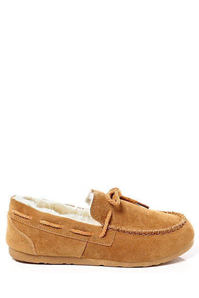 Drawstring Top Camel Faux Fur Lined Flats-SinglePrice