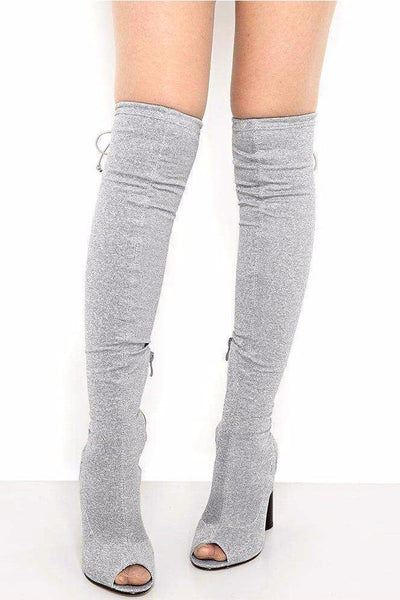 Drawstring Top Grey Over The Knee Boots-SinglePrice