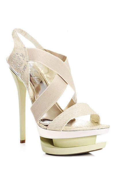 Elastic Straps Beige Stiletto Platform Heels-Single price