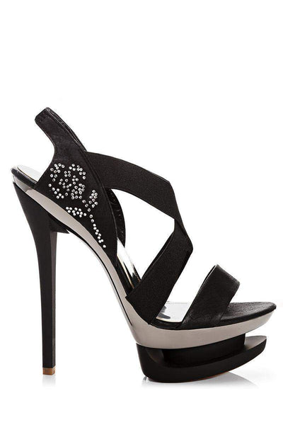 Elastic Straps Black Stiletto Platform Heels-Single price