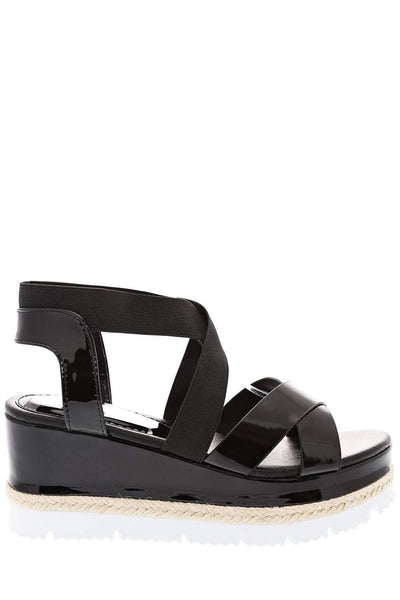 Elastic Straps Black Wedge Sandals-Single price