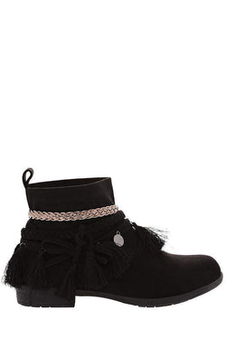 Embellished Black Suede Ankle Boots-Single price
