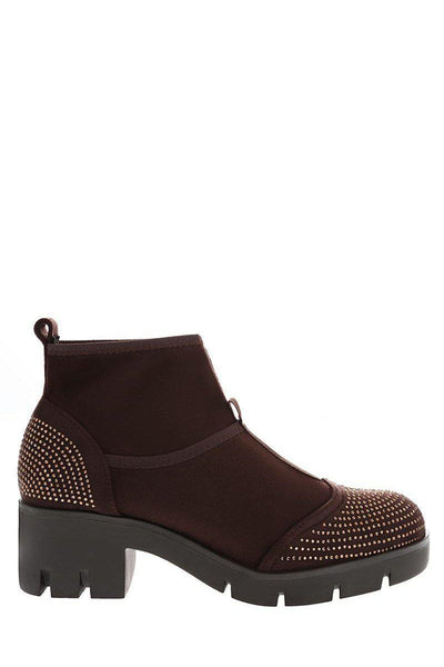 Embellished Brown Sock Block Heeled Ankle Boots-Single price