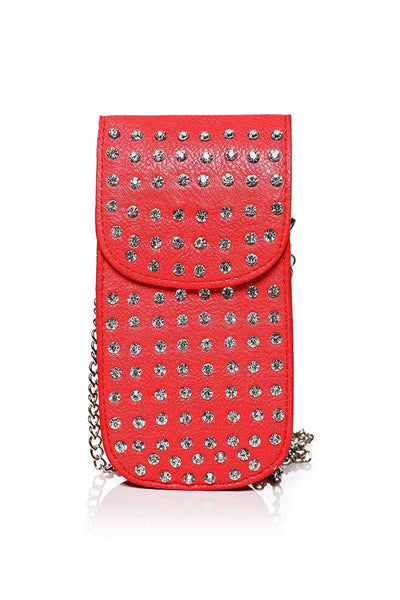Embellished Red Smartphone Cross Body Bag-SinglePrice