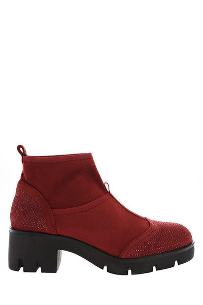 Embellished Red Sock Block Heeled Ankle Boots-Single price