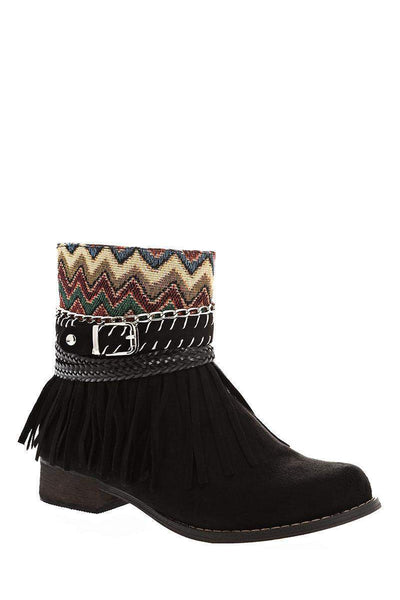 Embroidered Black Ankle Boots-Single price