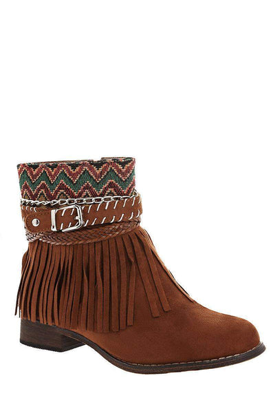 Embroidered Camel Ankle Boots-Single price