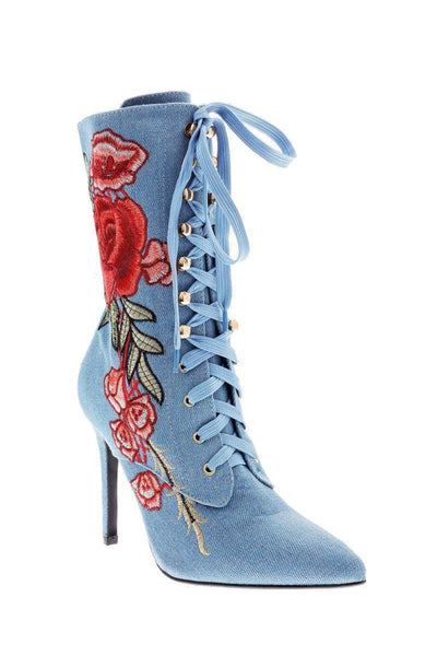Embroidered Denim Ankle Boots-Single price