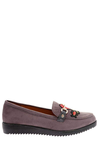 Embroidered Flower Grey Loafer Shoes-Single price
