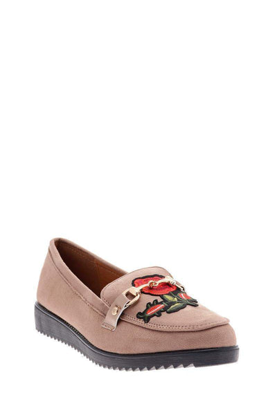 Embroidered Flower Khaki Loafer Shoes-Single price