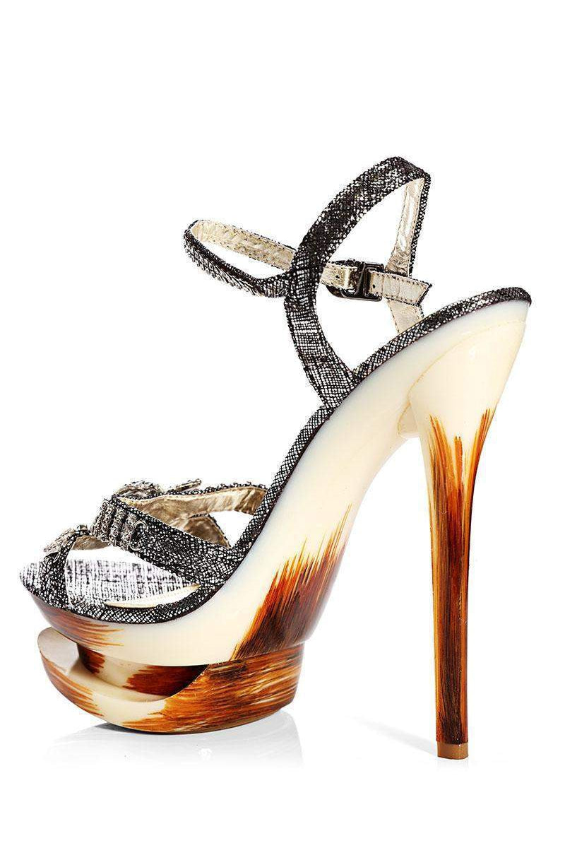 Encrusted Bow Black Stiletto Heels-Single price