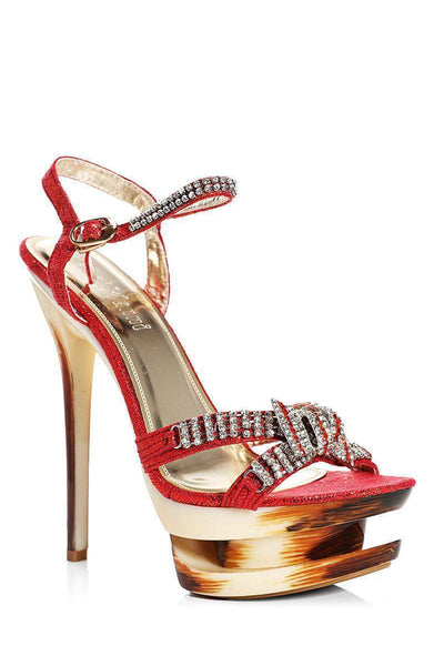Encrusted Bow Red Stiletto Heels-Single price