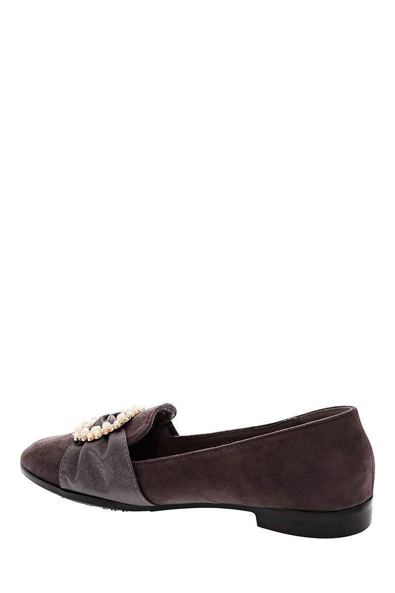 Encrusted Buckle Grey Flats - SinglePrice