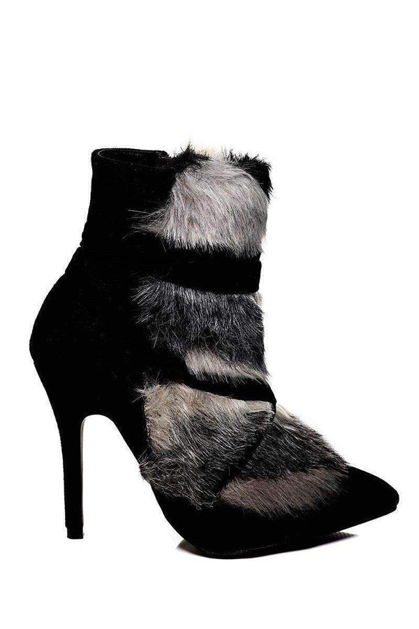 Faux Fur Black Stiletto Ankle Boots - SinglePrice