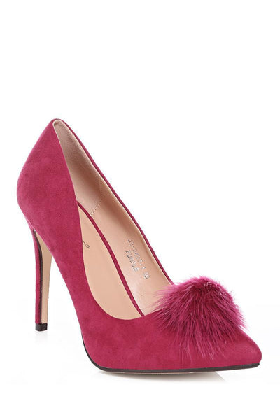 Faux Fur Pom Pom Purple High Heels-SinglePrice