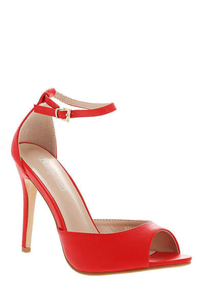 Faux Leather Classic Ankle Strap Coral Heels-Single price