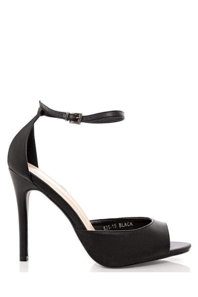 Faux Leather Classic Ankle Strap Heels-Single price