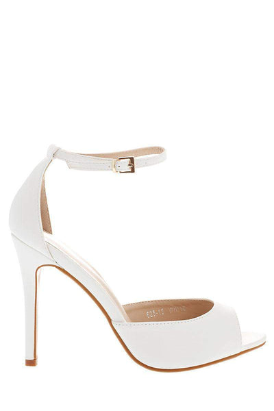 Faux Leather Classic Ankle Strap White Heels-Single price