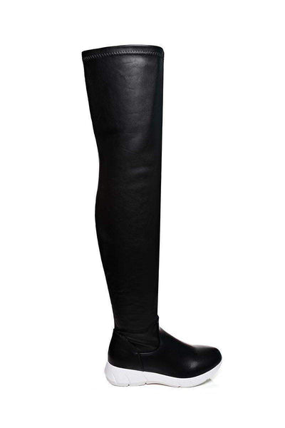 Faux Leather Over The Knee Boots-SinglePrice