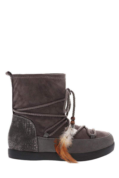 Feather Laces Grey Snow Boots-Single price