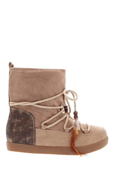 Feather Laces Khaki Snow Boots-Single price