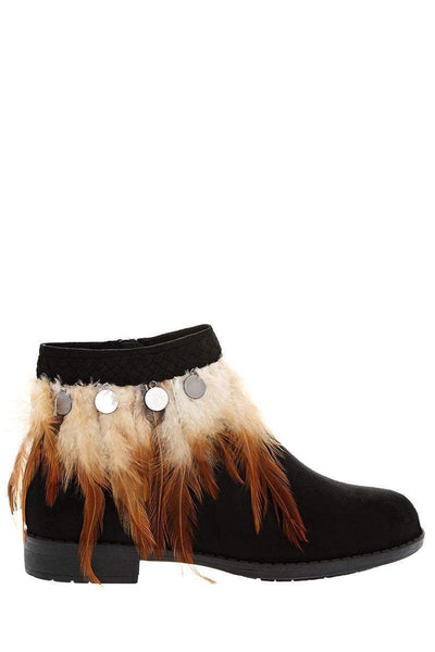 Feather Trim Black Flat Ankle Boots-Single price