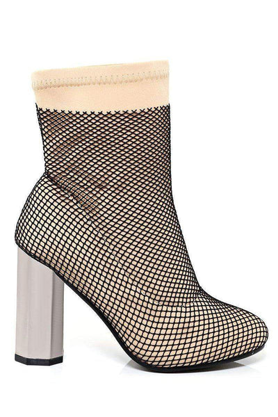 Fishnet Layer Beige Block Heel Sock Boots-SinglePrice