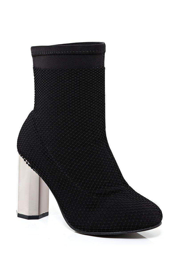 Fishnet Layer Black Block Heel Sock Boots - SinglePrice