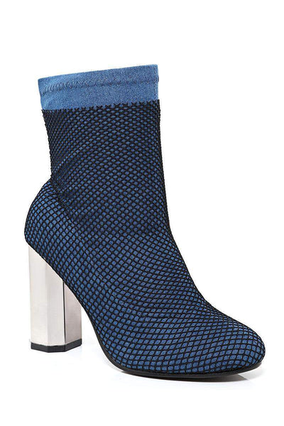 Fishnet Layer Blue Block Heel Sock Boots-SinglePrice
