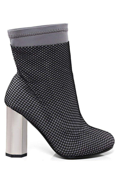 Fishnet Layer Grey Block Heel Sock Boots-SinglePrice