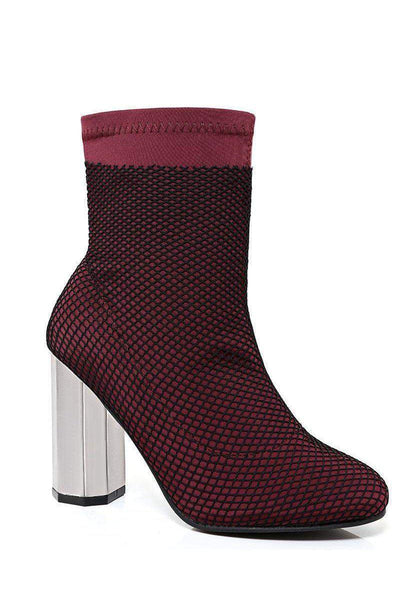 Fishnet Layer Wine Block Heel Sock Boots-SinglePrice
