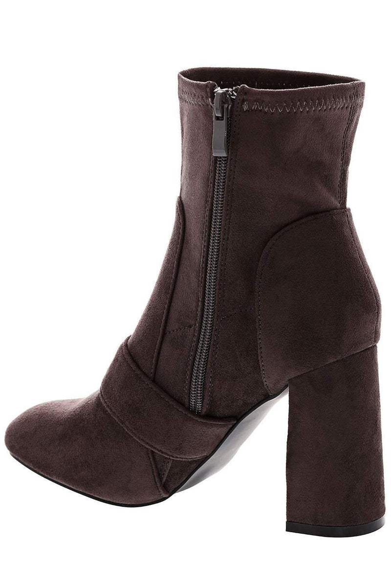 Flared Heel Grey Suede Ankle Boots-Single price