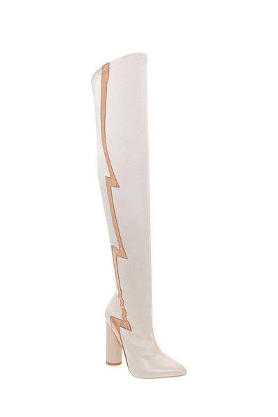 Flash Stripe Beige Over The Knee Boots-Single price