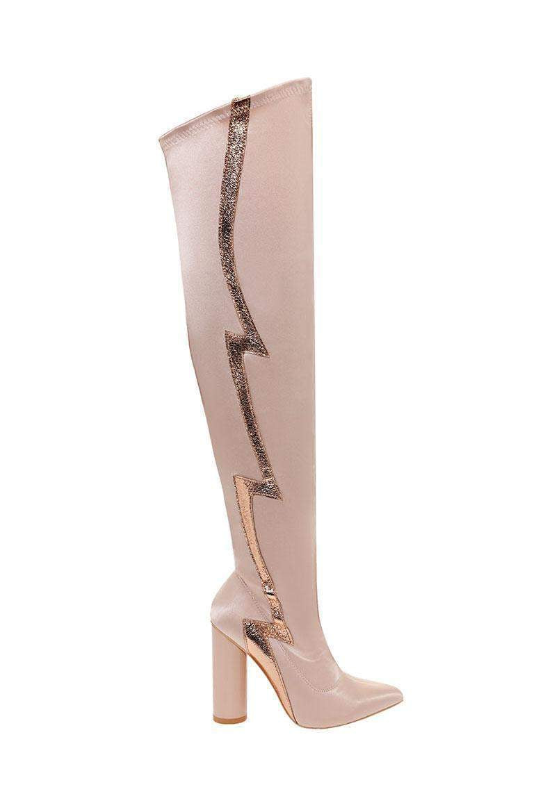 Flash Stripe Nude Over The Knee Boots-Single price