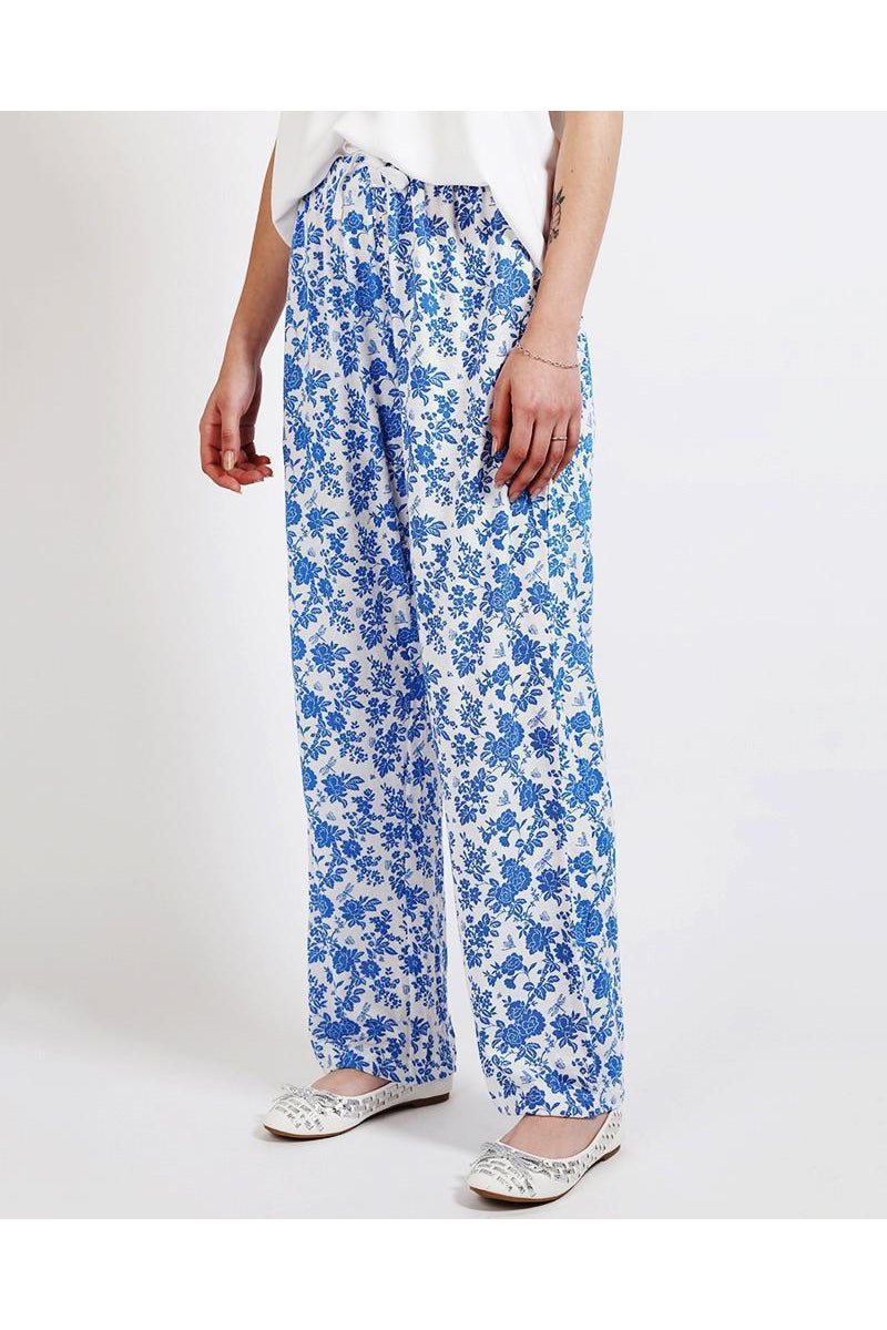 Floral Print Blue Leisure Trousers-SinglePrice