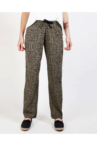 Floral Print Khaki Leisure Trousers-SinglePrice