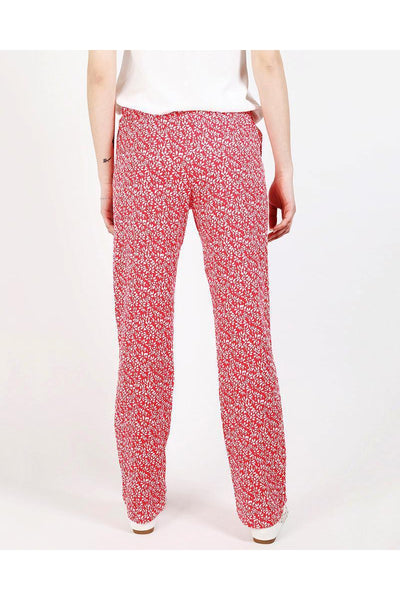 Floral Print Red Leisure Trousers-SinglePrice