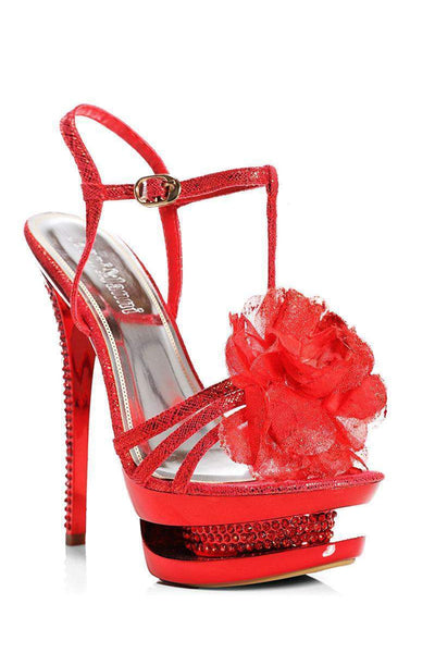 Flower Detail Red Stiletto T-Bar Heels-Single price
