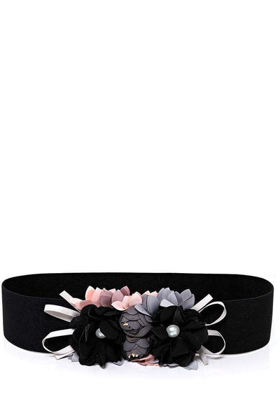 Flowers Embellished Black Elastic Belt-SinglePrice