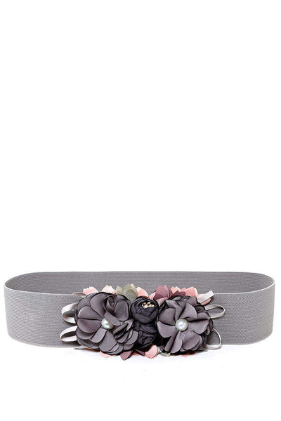 Flowers Embellished Grey Elastic Belt-SinglePrice