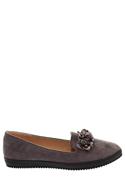 Flowers Embellished Grey Flats-Single price