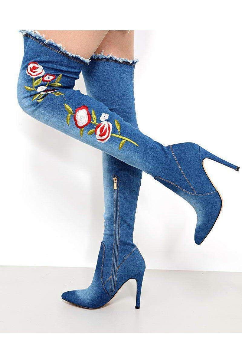 Flowers Embroidered Blue Denim Over The Knee Boots - SinglePrice