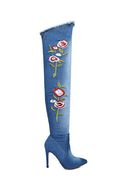 Flowers Embroidered Blue Denim Over The Knee Boots-SinglePrice