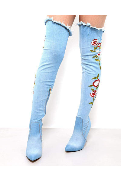 Flowers Embroidered Light Denim Over The Knee Boots-SinglePrice