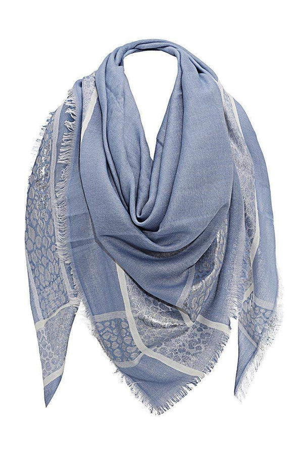 Foil Leopard Print Denim Blue Square Scarf-Single price